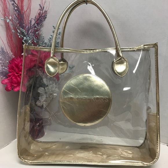 Michael Kors Handbags - Michael Kors MK Clear & Gold Transparent Tote Bag